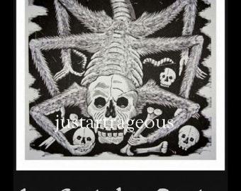 "Jose  Posada, calavera huertista spider, Goth, Day of the Dead, goth skeleton spider, 8 x 10"" Poster print, gothic art, black & white print"