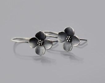 Dogwood Earrings, botanical jewelry, sterling silver botanical earrings, dainty earrings