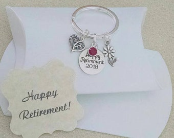 Retirement Gift for Woman, Happy Retirement, Retirement Gift for Teacher, Retirement Gift for Boss, TINY Keychain, Charm is Size of a Nickle