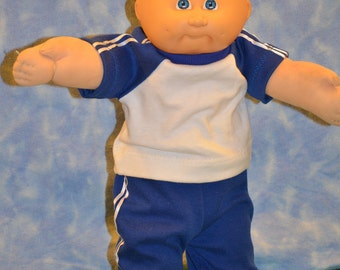 "Cabbage Patch Doll Clothes - Handmade for 16"" - 18"" Boy Dolls - Blue Sweats Outfit"