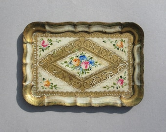 Vintage Florentine Tray Gold Gilt Italian Wood Tray with Hand Painted Flowers Small Rectagular Tray Made in Italy