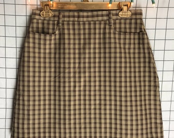 Vintage The Limited Brown Plaid Schoolgirl Mini Skirt