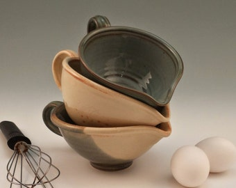 Gravy Boat Food Prep Bowl Batter Bowl Mini Mixing Bowl w/ Pour Spout 1 cup Functional Kitchen Pottery Handmade Gift for Cook Barbecue Grill