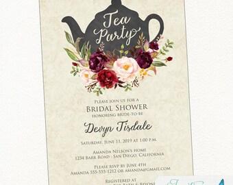Tea Party Bridal Shower Invitation | Burgundy Bridal Shower Tea Party Invitation | Shabby Chic Tea Party Invitation | Printable Invitation