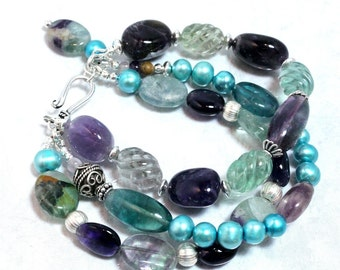 Rainbow Fluorite Bracelet with Amethyst and Freshwater Pearls, Multi Strand, Sterling Silver