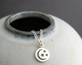"""tiny crescent moon 3 three stars necklace sterling silver sliver charm small celestial astrology delicate dainty pendant simple jewelry 1/4"""""""