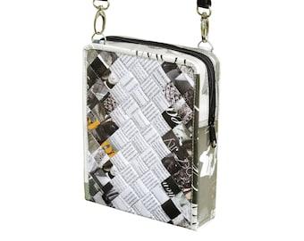 Small zip crossbody using magazine paper, FREE SHIPPING, vegan friendly bag, vegan bag, upcycling by milo, naveh milo, green product