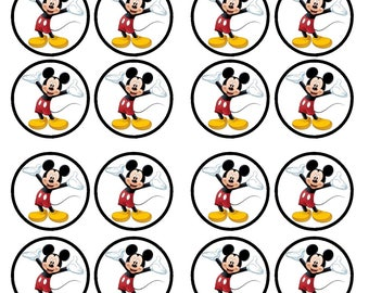 Mickey Mouse Edible Wafer Rice Paper Cake Cupcake Toppers x 24 PRECUT