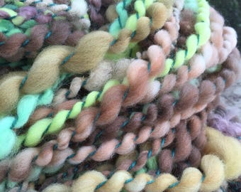Hand spun Art yarn hand spun hand dyed bulky 2 ply knitting supplies crochet supplies Waldorf doll hair wool baby photo prop