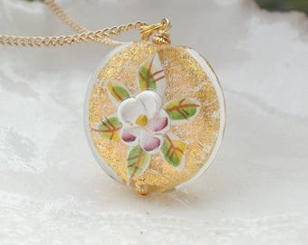 Gold Venetian Murano Glass & Porcelain Necklace