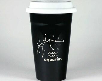 Aquarius Zodiac Travel Mug - Black insulated ceramic coffee cup w/ lid