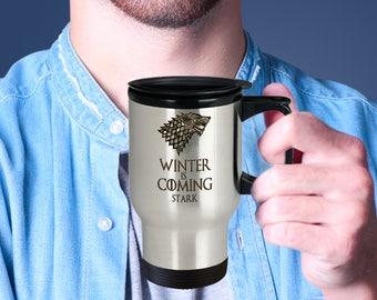 Game Of Thrones Winter Is Coming Stark Travel Mug, GOT Fans