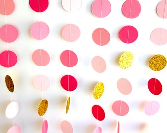 Pink Gold paper garland, metallic glitter Gold circles, pink gold wedding decoration, gold pink ombre bridal shower, baby shower garland