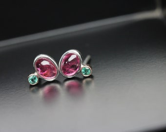 Cute Pink Tourmaline Green Emerald Stud Earrings 14K Rose Gold Silver Simple Delicate Oval Cabochons October May Birthstone - Kirschblümchen