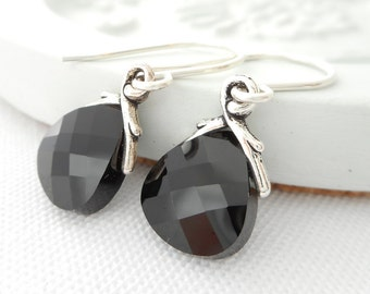 Small Black Crystal Earrings, Jet Black Swarovski Crystal Flat Briolette Dangle Earrings, Bridal Earrings, Bridesmaid Wedding Jewelry