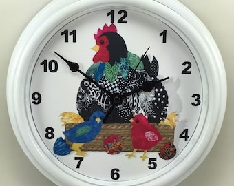 KITCHEN Hens and Chicks DECORATOR Wall Clock