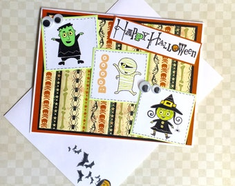 Happy Halloween Greeting Card - Mummy Witch Frankenstein Handmade Paper Card for kids or adults