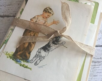 40 Vintage Childrens Book Pages~Scrapbooking~Card Making~Junk Journal~Mixed Media~Vintage Ephemera