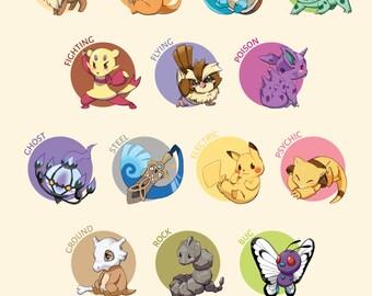 Pokemon de Type graphique Illustration | affiche de Pokemon, pokemon imprimer, nintendo affiche, affiche du jeu vidéo, Pokémon art, poster anime, décor gamer