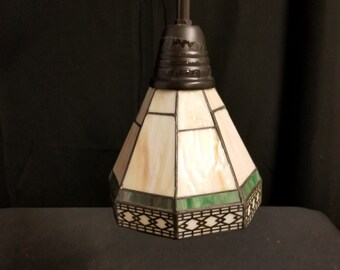 Vintage pendant Lamp, Stained Glass Pendant, Small