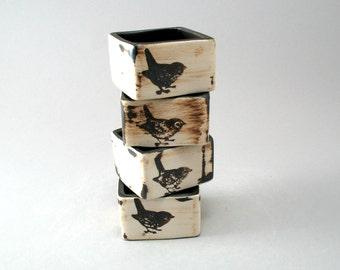 Pottery Napkin Holders-Set of 4-Stoneware Napkin Rings-Bird-Hand Built-Porcelain-Home Decor-Tableware-Bird Pottery-Rustic