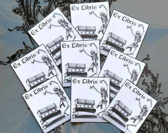 Dancing Skeleton BOOK PLATES- 2 Sizes- Set of NINE Black & White detail Prints on Adhesive backed Paper, Day of the Dead stickers Bookplates