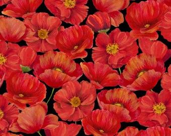 Wilmington Prints - Poppy Celebration - Red Packed Poppies Fabric by the yard 42404-935