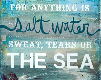The Cure for Anything is Salt Water | Mixed Media Art | Ocean Beach Word Art | Hand-Lettered Typography | Ocean Wall Art