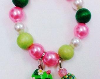 Apple Blossom  shopkin inspired charm bracelet (stretchy)