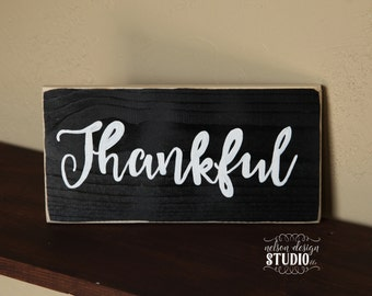 Thankful Wood Sign - hand painted, rustic, farmhouse, distressed, home decor, fall decor, autumn, sign