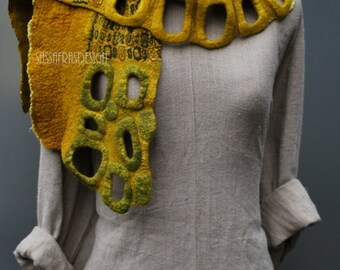 Extravagant hand felted scarf with stunning surface
