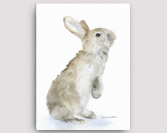 Tan Buny Rabbit Watercolor 12 x 16 Gallery Wrapped Canvas Print - Woodland Animal - Nursery Art