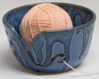 Ceramic Yarn Bowl, Yarn Keeper, Blue Yarn Bowl, Denim Blue Bowl, Knitting Holder, Wheel Thrown Yarn Bowl, Hand Carved, Pottery Yarn Bowl,