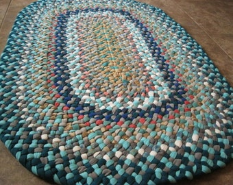 Made To Order Oval Denim Aqua Hand Braided Rug / Floor Carpet / Rag Rug in your color choices from recycled fabrics