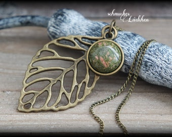 Unakite Antique Bronze Gemstone Necklace