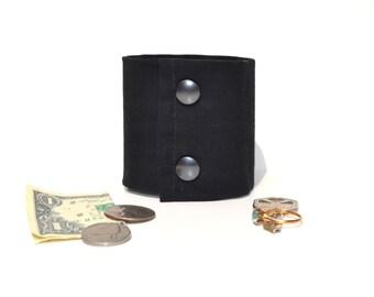 Secret Stash  Wrist Money Cuff -   Black - hide your cash, key, jewels, health info, meds ,  in a HIDDEN  inside zipper...