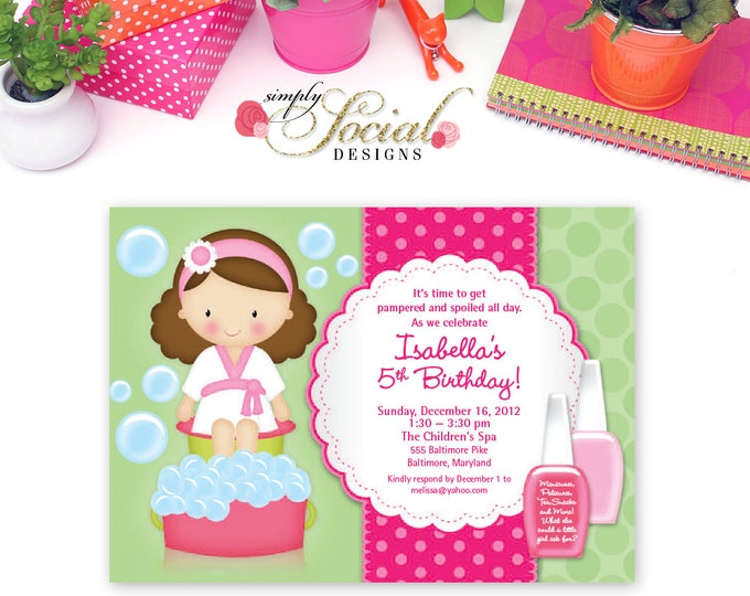 Kid's Spa Birthday Party Invitation Manicure Pedicure Nail Polish Printable