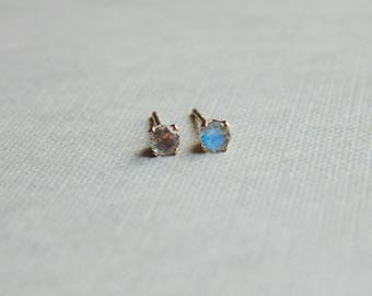 Tiny small 3mm grey labradorite gemstone 14ct gold filled studs earrings