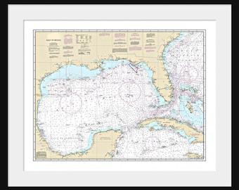 Gulf of Mexico Map - Nautical Map - Nautical Chart - Map Art - Print - Poster