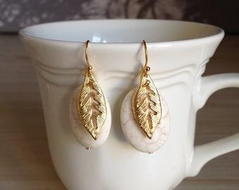 Cute Magnesite Gold Palm Leaf Earrings