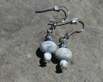 Gray Stone Earrings