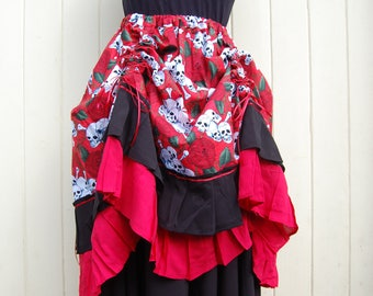 Steampunk Skirt, Pirate Wench in Red Skull Cotton