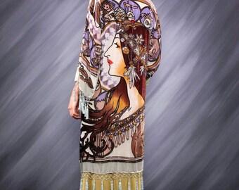 Art Deco Noveaux Mucha Astrologer Beaded Kimono Gypsy Duster