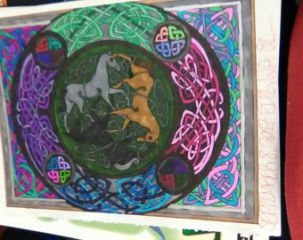Celtic knotwork horses