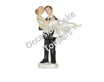 Wedding Cake Topper - Bride and Groom - Over the Threshold - Polyresin Decoration