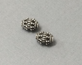 Bali Beads Oxidized Antiqued Sterling Silver 1 Pcs, 925 Sterling Silver - VJ90