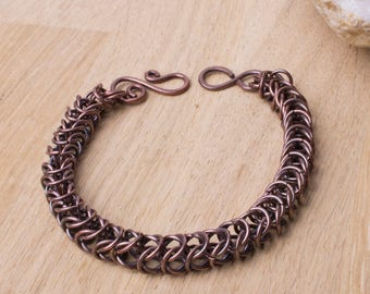 Copper chainmaille bracelet - Open Box weave chain maille bracelet | Oxidized copper chainmail | Chain mail jewelry | Pure copper bracelet