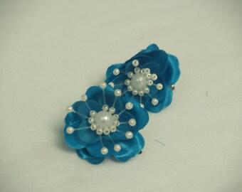 Turquoise hair flowers - brides turquoise blue flowers - bridesmaids turquoise flowers - flower girls flowers, Brides Something Blue