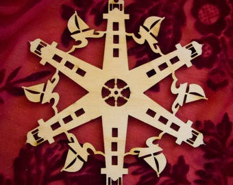 """Lighthouse and Sailboat Laser Cut Wood """"Snowflake"""" Ornament"""