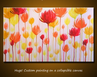 """Extra Large Wall Art Original Modern Contemporary Wall Home Decor Floral Painting ... 36"""" x 60"""" ... free US shipping"""